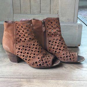 Franco Sarto Dark Tan Ankle Booties 8.5